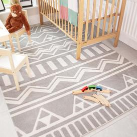 image-Grey Tribal Soft Kids Bedroom Rugs  - Nino
