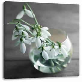 image-Snowdrops in a Vase Art Print on Canvas East Urban Home Size: 40cm H x 40cm W