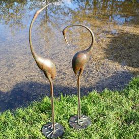 image-Areswell 2 Piece Crane Aluminium Statue Set Sol 72 Outdoor