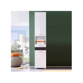 image-Mezzo Tall Bathroom Cabinet In White With High Gloss Fronts