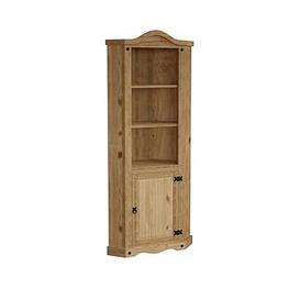 image-Vida Designs Corona 1 Door Corner Bookcase
