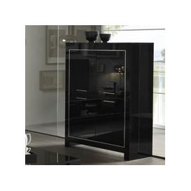 image-Lorenz Modern Bar Unit In Black High Gloss With 4 Doors