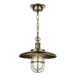 image-David Hunt Lighting CAP0175 Captain One Light Outdoor Ceiling Pendant Light With Antique Brass Finish
