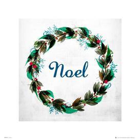 image-Christmas Wreath Noel' Framed Textual Art East Urban Home Size: 40cm H x 40cm W, Format: Unframed