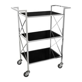image-Luxe - Three Tier Drinks Trolley - Black & Silver