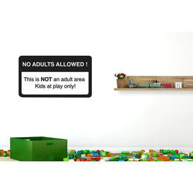 image-No Adults Allowed This Is Not an Adult Area Kids at Play Only Wall Sticker Happy Larry Size: Medium, Colour: Black