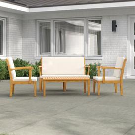 image-Eusden 4 Seater Sofa Set Dakota Fields Colour (Frame): Teak Brown