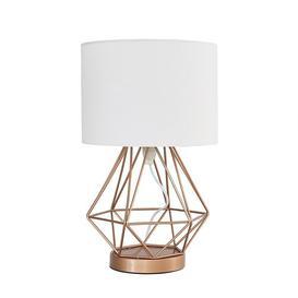 image-Haigler 41cm Table Lamp Ebern Designs Base Colour: Copper, Shade Colour: White, Bulb Type: LED Bulb