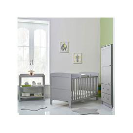 image-Obaby Grace Cot Bed 3 Piece Nursery Furniture Set - Taupe Grey
