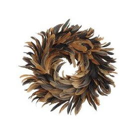 image-Libra Feather Brown Small Wreath - Xmas-19