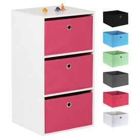 image-Hartleys White 3 Cube Kids Storage Unit & 3 Easy Grasp Box Drawers - Pink