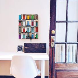 image-Photo Collage of 32 Colourful House Doors Key Hook Mercury Row