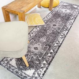 image-Traditional Oriental Black Distressed Runner Rug - Enzo