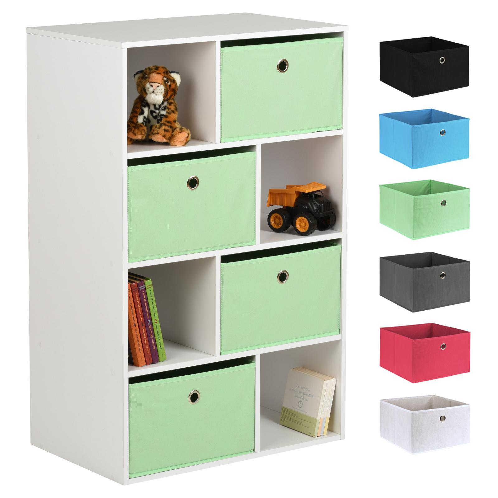 image-Hartleys White 8 Cube Kids Storage Unit & 4 Easy Grasp Box Drawers - Mint