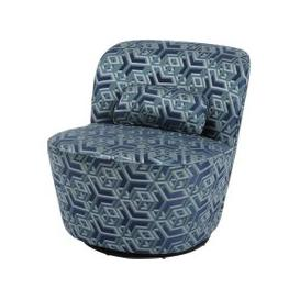 image-Libra Ellison Blue And Green Geometric Print Swivel Occasional Chair