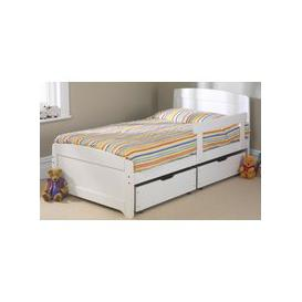 image-Friendship Mill Wooden Rainbow Kids Bed, Single, 2 Side Drawers, White, Matching Guard Rail