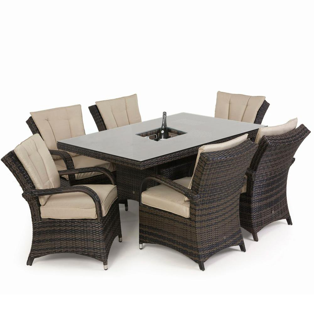 image-Maze Rattan Texas 6 Seat Rectangle Ice Bucket Dining Set with Parasol/ Brown