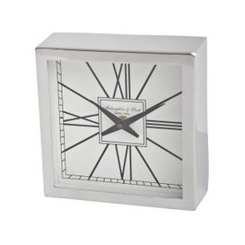 image-Roxy Square Silver Metal Mantel Clock