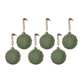 image-A by AMARA Christmas - Leaf Design Glass Bauble - Set of 6 - Frosted Green