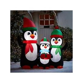 image-Festive 5Ft Inflatable Penguin Family Outdoor Christmas Decoration