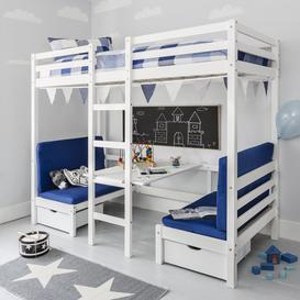 image-Max Bunk Bed with Table and Sleepcentre with Blue Cushions