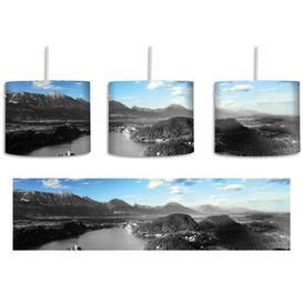 image-Lake Landscape 1-Light Drum Pendant East Urban Home Shade Colour: Grey/Blue