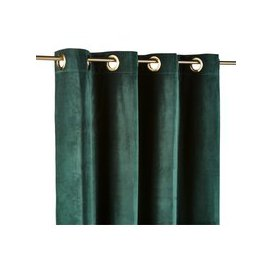 image-Single Emerald Green Velvet Eyelet Curtain 140x300