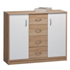image-Sather 4 Drawer Combi Chest Mercury Row Body and front colour: Sonoma oak and plain white