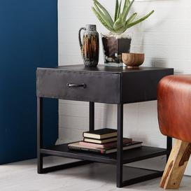 image-Metalica Industrial Furniture Lamp Table with Drawer