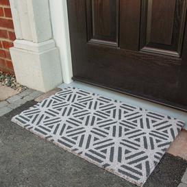 image-Woven Trellis Coir Outdoor Entrance Doormat - Coir