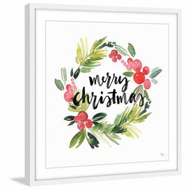 """image-\""""Wreath of Christmas\"""" Framed Watercolour Painting Print East Urban Home Size: 51cm H x 51cm W x 3.81cm D"""