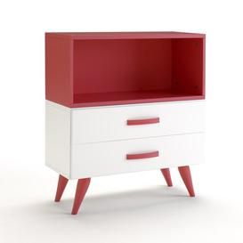image-Pamplona 2 Drawer Chest of Drawers Just Kids Finish: Lacquered White / Red