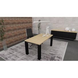 image-Francesca Writing Desk Ebern Designs Colour (Top/Frame): Natural Oak/Black, Size: 75.5cm H x 160cm W x 80cm D
