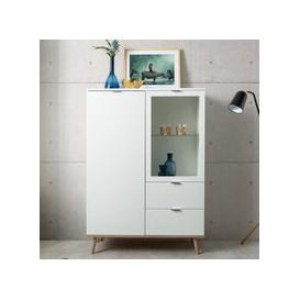 image-Eridanus Small Wooden Display Unit In White And Sonoma Oak
