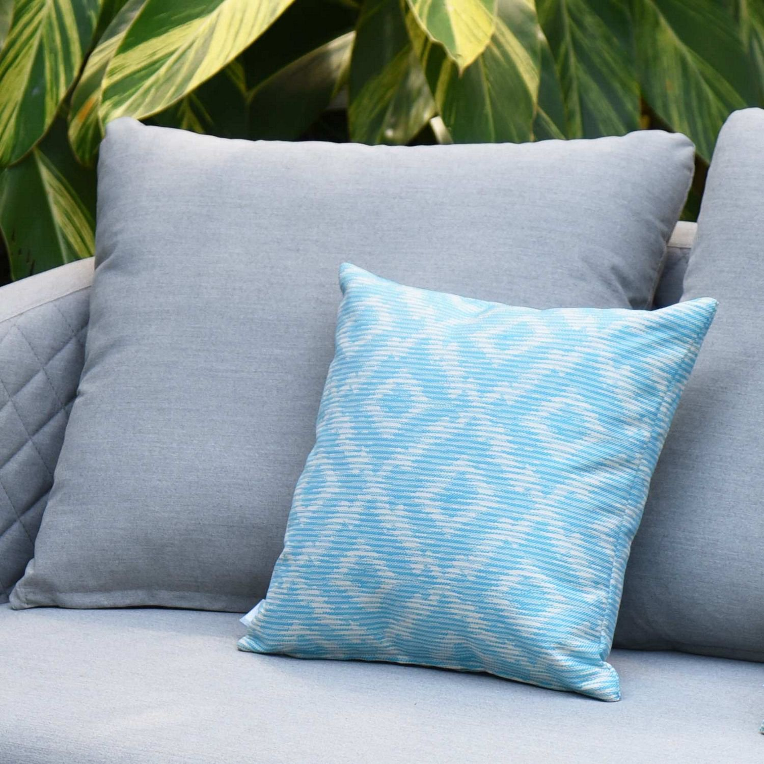 image-Maze Lounge Outdoor Fabric Scatter Cushion in Santorini Aqua Blue Pair