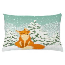 image-Theodor Fox Winter Forest Xmas Outdoor Cushion Cover Ebern Designs Size: 40cm H x 65cm W x 0.5cm D