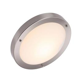 image-Circular Bathroom Ceiling Light, LED Compatible, IP44 Rated. Dimmable. Brushed Chrome - Available in 2 Finishes.