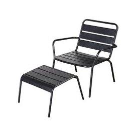 image-Matte Metal Garden Armchair and Footrest Batignolles
