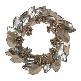 image-A by AMARA Christmas - Magnolia Leaf & Hydrangea Wreath - Silver/Champagne
