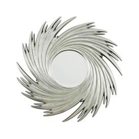 image-Teddy's Collection Sunburst Swirl Silver Wall Mirror