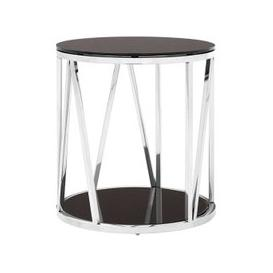 image-Alvara Round Side Table In Chrome With Black Mirror Top