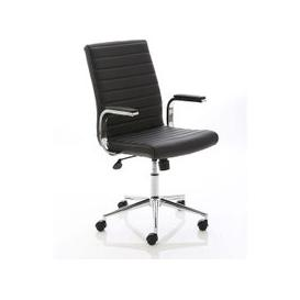 image-Tylor Executive Chair In Black Bonded Leather With Wheels
