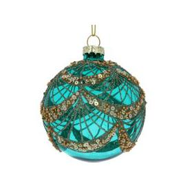 image-Turquoise Sequin Glass Bauble