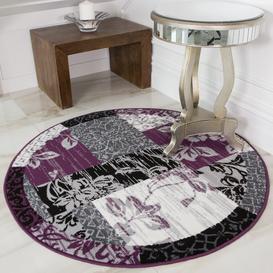 image-Round Circle Patchwork Purple Rug - Milan