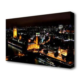 image-'London Ariel View Night Lights' Photograph on Wrapped Canvas East Urban Home Size: 101.6 cm H x 142.2 cm W
