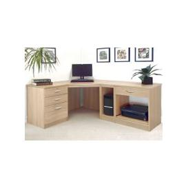 image-Small Office Corner Desk Set With 3+1 Drawers, Printer Shelf & CPU Unit (Sandstone)