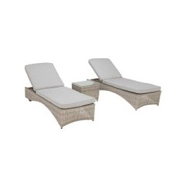 image-Hathaway Garden 3 Piece Sun Lounger Set, Grey Weave and Grey Fabric