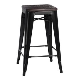 image-Jerome Wood Bar Stool Williston Forge Colour (Frame): Black, Colour (Seat): Pine, Seat Height: 65cm