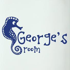 image-Personalised Seahorse Kids Door Room Wall Sticker Happy Larry Colour: Dark Blue