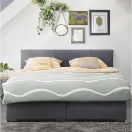 image-Celina Upholstered Bed Frame Ebern Designs Colour: Grey/Brown/Blue, Size: 180 x 200cm